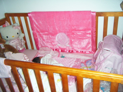 My daughter's Hello Kitty in her crib :)