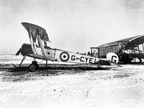 "planeshots:  Avro 504K. ""G-CYEI started life in the Canadian Air Force as an Avro 504K on 27 October, 1921 when its certificate of registration was issued, after having been gifted to Canada in 1919 along with 113 other assorted Aircraft by Great Britain. It continued service as a standard trainer with the RCAF when that organization was formed on 1 April, 1924 and was converted to a 504N on 29 June, 1927 by exchanging its Clerget powerplant for a Armstrong Siddeley Lynx IV, replacing its undercarriage, and several other minor modifications. It was reserialled to ""4"" on 1 January, 1928, and struck off strength on 15 August, 1928."""