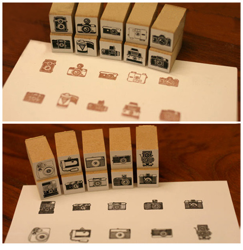 photojojo:  Camera stamps! We're goin' stamp-happy. CAMERAS EVERYWHERE!!! Probs gonna change our name to Stampy.