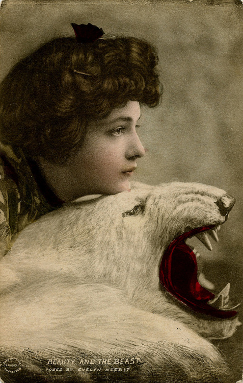 turnofthecentury:  Beauty and the Beast [Evelyn Nesbit] via WonderfullyStrange  I should be a polar bear, but it's impossible…