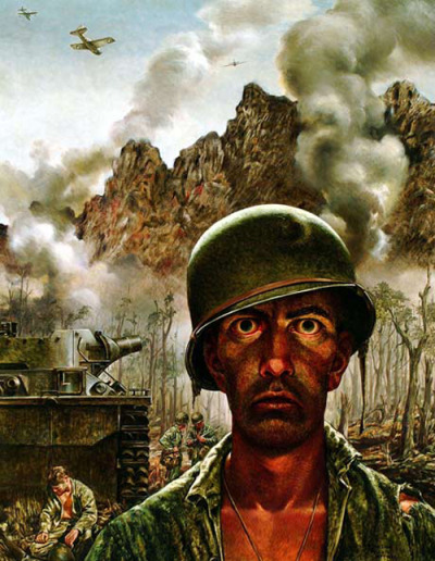 "criminalwisdom:  'That 2,000 Yard Stare' painted by Tom Lea, World War Two. (via)  ""Art of the American Solider"" is a art exhibition made up of 300 painting by American Solders depicting every conflict fought by American Soldiers from the First World War all the way through to the current conflict in Afghanistan. Former Prime Minister Tony Blair was quoted saying ""groundbreaking exhibition depicts the human dimension of war in ways no photograph or newsreel ever could"".   Be sure to listen to each time period's audio while looking here. Hauntingly beautiful."