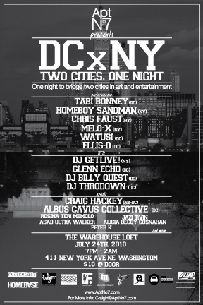 DC x NY, Two Cities, One Night, Saturday, July 24 7PM-2AM 411 New York Ave NE I can't tell you how excited I am to be showing at the same event that Tabi Bonney is headlining.  Long ago, I shot some images of Tabi while his video for Jetsetter was being shot on the rooftop of the building where we'll be partying on Saturday … Hope to see you then! http://www.urb.com/2009/03/24/photos-tabi-bonney-jetsetter/