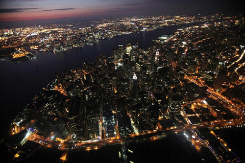 Aerial night shot of New York City.