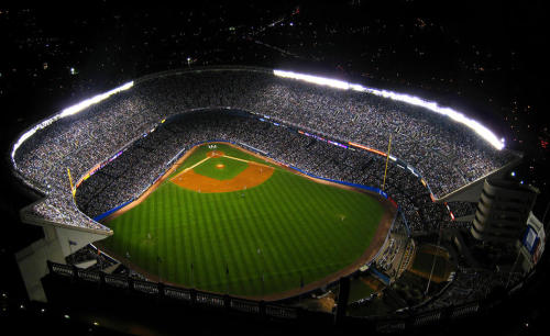 An aerial photo of Yankee Stadium.
