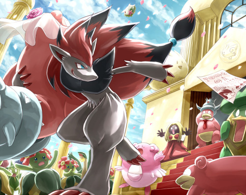 fyeahpkmnblackandwhite:  (pixiv)    Is that Zoroark… taking off with bride!Slowbro? o.O