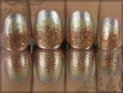 another take on KATNISS's metallic GIRL ON FIRE ombre nails.  nailcrazy:  thebriskconvergence:  Gradient manicure? Two please. Lifted from: {&&}