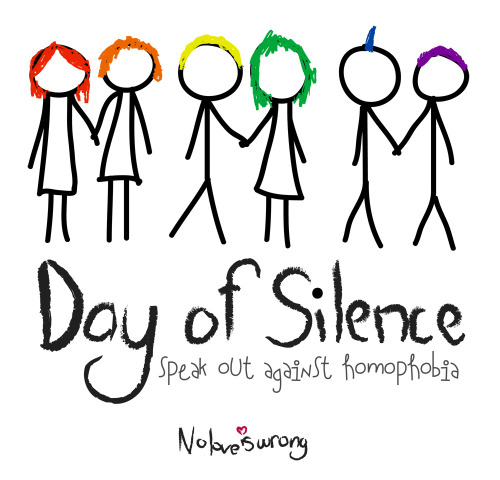 wendyyyyyy:  Recently I started a silent protest called 'Day of Silence'. This image was the logo I created for the event. Basically, the people who were doing it had to be completely vocally silent for 24 hours, and when people asked why they'd show them a badge saying they were doing the silence in aid of homophobia awareness (and the prevention of homophobia hopefully!). It was hyped up and talked about beforehand, and several of the schools (including my own) weren't supportive of it so it became guerilla movement and I'm still not sure why. Even if you don't believe equal marriage is right or wish to know anything about gay/lesbian adoption rights it is unarguable that homophobia is a basic form of discrimination and has to be fought and stopped globally. I'm asking you beautiful, quirky and intelligent people on tumblr to show your tumblove and reblog this and let people know about this. Show that you support that love is emotional and not in any way defined, specified or rational. (the original website: www.24ofsilence.has.it )  Day of Silence is a really fun April event. You can learn more about it here.