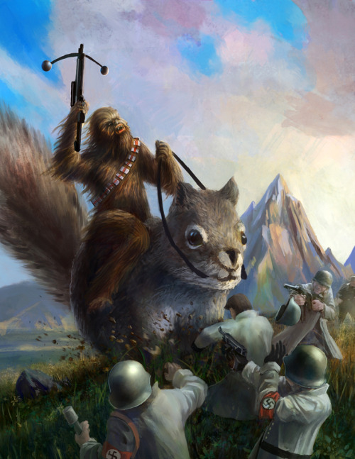 "justinrampage:   Tyler Edlin placed Chewbacca in a crazy situation with his most recent piece of art. There are so many hilarious things going on here… ""Chewbacca ain't in the prisoner-takin' business; he in the killin' Nazi business. And young padawan, business is a-BOOMIN'!"" Chewbacca Commission by  Tyler Edlin / gamefan84 (deviantART)  Chewbacca mounted on a killer squirrel… fighting nazis. Awesome."