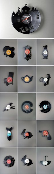 9GAG - Clocks made from Vinyl Records
