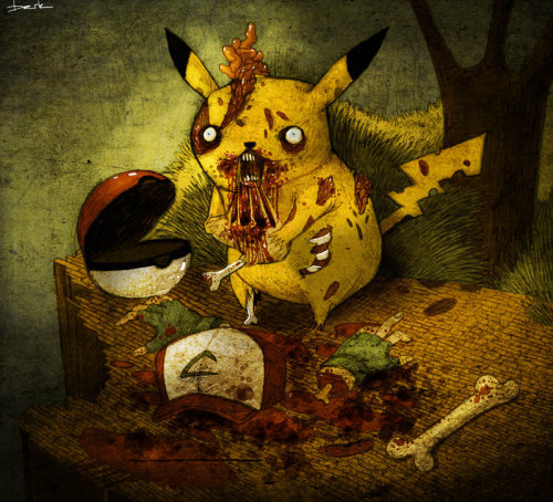 Zombie Pikachu wants to eat you too! Seriously, Ash didn't stand a chance against this little brain consuming spitfire. Related Rampages: The Last Superman | Mario Zombie Pikachu by Berk Ozturk (Facebook) (DinoDream)