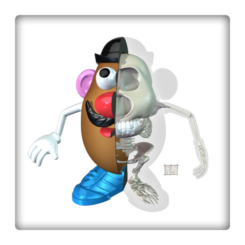 Fictional Anatomy of the Day: The Visible Mr. Potato Head by badass biofictionist Jason Freeny. Print TK. [m|p.]