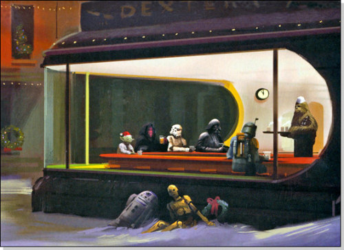 hyperallergic:  Edward Hopper + Star Wars + Christmas = pop culture gluttony. C3PO and R2D2 look like such sad afterthoughts of those inside, like drunk homeless men, bereft a home or family, but not totally forgotten. Odd, but kind of fitting. fuckyeahchewbacca:  pazaakshark:  Star Wars Christmas Card