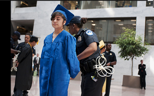 Diana Martinez, 18, an undocumented student, was one of 12 arrested after refusing to leave their sit-in in the Hart Senate Office building. An estimated 65,000 illegal immigrants graduate from U.S. high schools each year. The Washington Post-Mark Abramson