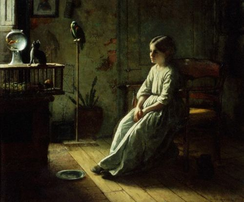 birdnerd:  myaloysius:  Jonathan Eastman Johnson: Girl and Pets, 1856