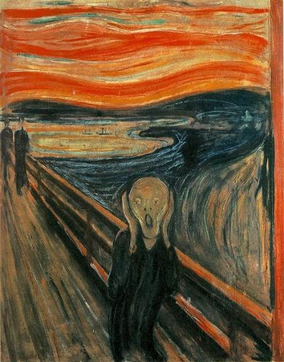 "The ScreamEdvard Munch1839oil, tempera, and pastel on cardboard  "" Did you know that there is mysterious graffiti scribbled within a streak of the sky in Edvard Munch's famous painting The Scream (1893)? No one knows whether it was Munch himself who wrote it, or if a disgruntled visitor to one of his early exhibitions scribbled the pencil inscription onto the painting itself. But the fact remains that, for whatever reason, Munch never removed it from his now famous painting, though he must have been aware of it. What does the graffiti say? In Norwegian: ""Could only have been painted by a madman""."" Quote from The Art History Blog"