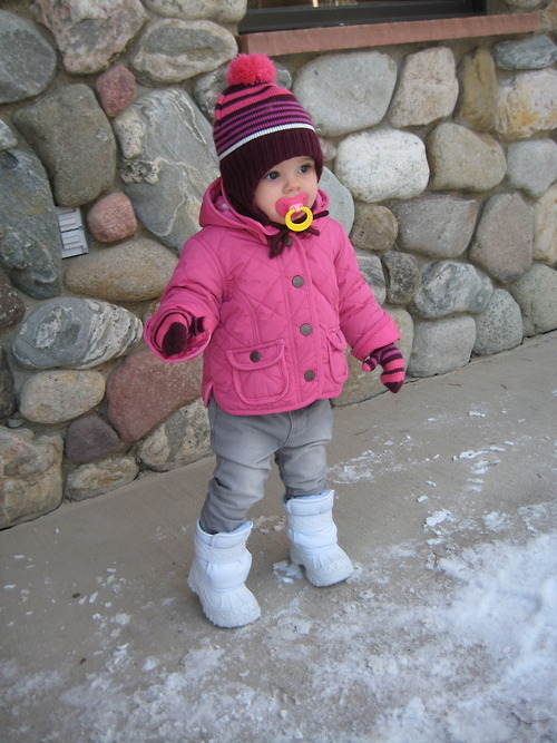 Ava loved, loved the snow! It took her a little while to figure out how to maneuver in the many layers of clothing but she had a great time! We enjoyed lunch with Daddy, Yaya & Aunt Kristen at the lodge and a relaxing afternoon with Pops at the log cabin.