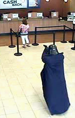 Some dumbass donned a Darth Vader helmet and cape, entered a Chase bank in Setauket, Long Island, drew a gun and robbed the joint.  When he gets arrested, I hope someone smashes that fucking helmet over his fucking head. (Photo and article via the New York Daily News)