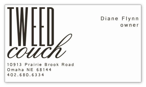final logo design on final business card design for tweed couch.  i think it turned out nicely.