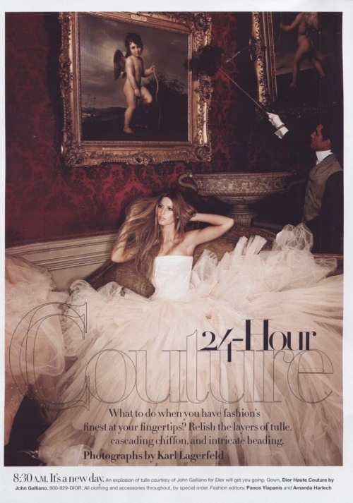 """24-Hour Couture"" Harper's Bazaar, June 2007 photographer: Karl Lagerfeld Gisele Bundchen  8:30 A.M. It's a new day. An explosion of tulle courtesy of John Galliano for Dior will get you going.  Tulle explosion, people. Tulle. Explosion. The best kind of explosion. —and a great red wallpaper. 24 Hour Couture - Gisele Bundchen - by Karl Lagerfeld"