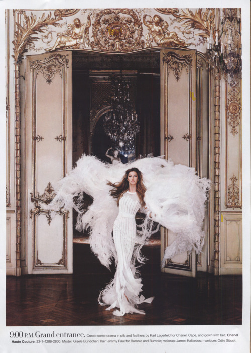 """24-Hour Couture"" Harper's Bazaar, June 2007 photographer: Karl Lagerfeld Gisele Bundchen  9:00 P.M. Grand entrance. Create some drama in silk and feathers by Karl Lagerfeld for Chanel.  24 Hour Couture - Gisele Bundchen - by Karl Lagerfeld"