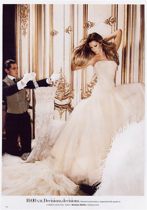 """24-Hour Couture"" Harper's Bazaar, June 2007 photographer: Karl Lagerfeld Gisele Bundchen  10:00 A.M. Decisions, decisions. Versace's princess-y sequined tulle gown is a dream come true.  MODELING MODELING MODELING: Karl Lagerfeld ""24-Hour Couture"" Harper's Bazaar US June 2007"