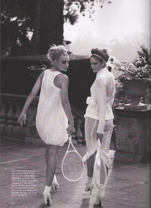 """What's White Now"" Harper's Bazaar, April 2010 photographer: Peter Lindbergh Heidi Mount, Jessica Stam tennis turn-around ObsessionMIA: Jessica Stam and Heidi Mount"