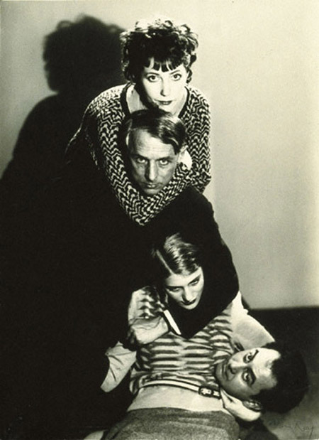 Marie-Berthe Aurenche, Max Ernst, Lee Miller and Man Ray. (Photo by Man Ray, 1931.)