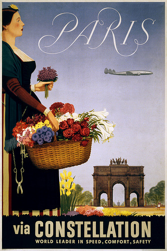 indigodreams:  Paris via Constellation, travel poster, ca. 1950, via …trialsanderrors