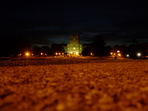 moonii:  Fortress in the Darkness (via moonsukaru)  Hell yeah Burruss Hall! Great pic :)