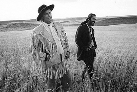 Marlon Brando & Jack Nicholson on the set of The Missouri Breaks, Billings, Montana — Mary Ellen Mark, 1975