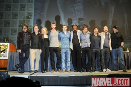 The Avengers! From the @Marvel Studios panel at Comic-Con (L-R): Robert Downey Jr., Clark Gregg, Scarlett Johansson, Chris Hemsworth, Chris Evans, Samuel L. Jackson, Jeremy Renner, Mark Ruffalo, director Joss Whedon and Marvel Studios President Kevin Feige. Iron Man, Agent Coulson, Black Widow, Thor, Captain America, Nick Fury, Hawkeye and Hulk. Boom. We win. Another photo and more details on Marvel.com.