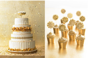 gold cakes and cupcakes. [via: raymond hom photography]