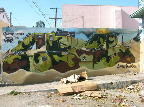 streetsofla:  'Graffiti Writers Against The War''CorporateBloodShed' Fuck war. Squeeze caps, not triggers. Fuck all this bullshit going on with N. Korea right now. Fucking egotistical motherfuckers. Worry about shit going on in your own country, don't worry about trying to run the fucking world. /my 2 cents