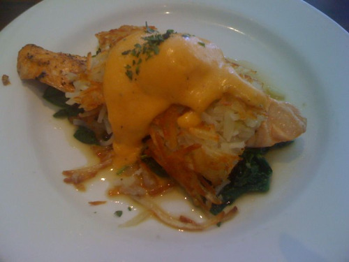 projectseefood:  Kitchen 24: Salmon Hash Benedict.