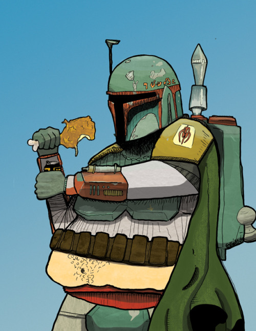 Glen O'Neill gives us a look at Boba Fett from a whole new ENORMOUS light. Fast Food Hunter, Boba Fatt! He eats Jedi scum for dinner… Literally! Boba Fatt by Glen O'Neill (Twitter) (Facebook)