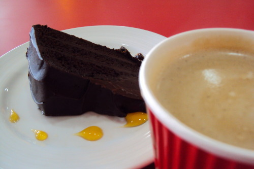 Chocolate cake and coffee… <3