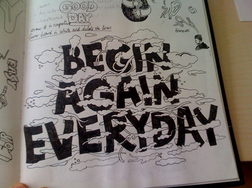 """Begin Again Everyday"" old sketchbook page from Adam Hayes"