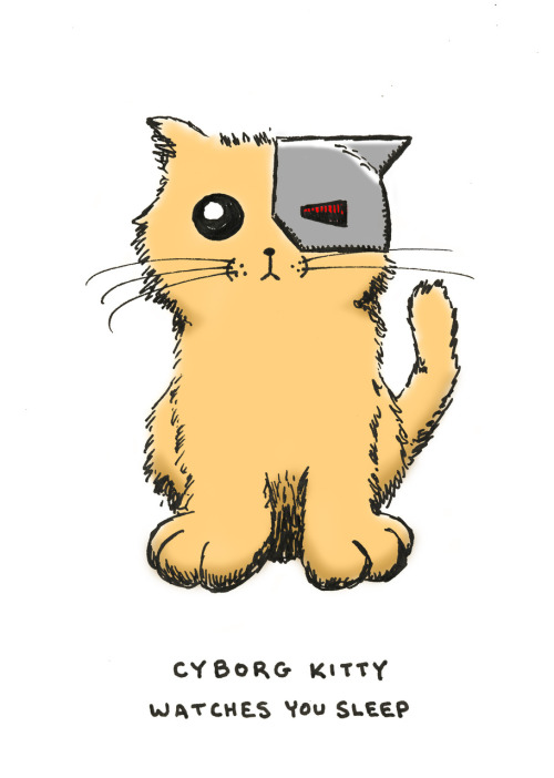 cyborg kitty watches you sleep