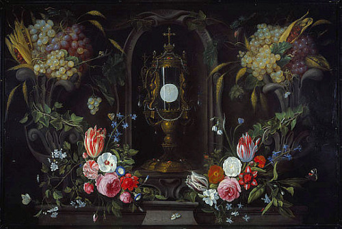 Jan van Kessel Still Life of Flowers and Grapes Encircling a Monstrance 1670