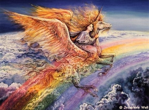 "Flight of Aquarius ""Soaring high above the clouds, a girl rides the Pegasus Unicorn, her hair flowing in the breeze created by the gentle beating of his wings. Together they follow the rainbow of hope as it leads them into a future of peace and love for all."" Josephine Wall did an amazing job of expressing the beauty of hope and love. She shows a young girl riding her majestic unicorn to a land of peace. Where there is no war, no hate, and no violence. If only such a place existed…"