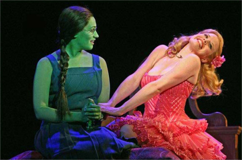 wickedgallery:  Eden Espinosa (Elphaba) & Megan Hilty (Galinda)  aww…(i can't come up with something funny to post with this picture, so you go ahead)