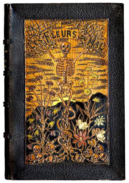 "Les Fleurs du Mal  Baudelaire, Charles. First Edition, First Issue.  Paris, Poulet-Malassis et de Broise, 1858.  FIRST EDITION, FIRST ISSUE, without title-page, dark morocco gilt by Charles Meunier (signed in blind on covers, and gilt on front turn-in), covers with central pictorial panels worked in coloured onlays (upper panel depicting a skeleton and flowers rising up with from a bed of skulls, entwined with a snake against a backdrop of the sun emerging from behind the mountains, captioned ""Les fleurs du mal""; lower panel of a skull resting on an open book and thistles, entwined with a banner ""Amor A Mort""), purple watersilked endpapers, gilt dentelles with skull cornerpieces"" g.e., central original printed wrappers bound in, half morocco chemise [Carteret I, pp.118-123].  Via Bonham's"