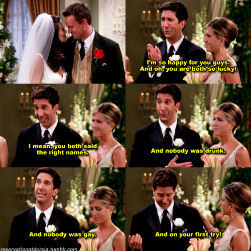 "fuckyeahrossgeller:  fuckyeahfriends:  (via reservationatdorsia)   8x01 TO After ""I Do"""
