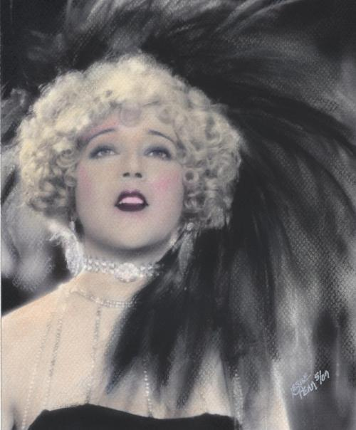 Pastel portrait by Leslie Penn of Mae Murray in The Merry Widow (1925) Image Source: Picasa