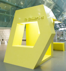 'walk this way' by INABA is a wayfinding device impersonating a building.it is an architectural beacon that directs traffic to ansan's attractions.