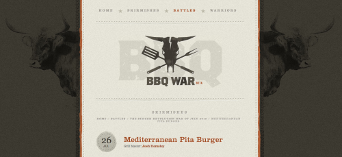 "BBQ War  BBQWar began as an idea by Ismael Burciaga while he was barbecuing one day and posting images via Twitter. A couple of Ismael's friends also began tweeting tantalizing pictures of what they were grilling. Soon it became obvious that a grilling ""war"" had been unofficially declared, so Ismael began placing #BBQWar on his tweets to his friends with an image attached. Several weeks later, the site 'BBQWar' was birthed."