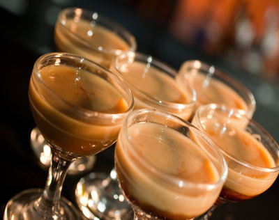 "Zerg Rush (Starcraft II Shots) Ingredients:5 cl Fernet Blanca5 cl Hot n' Sweet5 cl Baileys Irish Cream 5 dashes Tabasco Sauce  Directions: Layer each of the ingredients into six separate shot glasses, in the order given.  Take down all six shots as soon as they are served.  ""That ain't no dog. It's a Zergling, Lester. Smaller attack Zerg. They shouldn't be out this far unless… oh shit."" (Drink created and photographed by Scrollbar.dk)"
