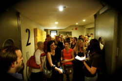 The line in front of the cinema screening our film, 'Another Time, Another Pace'. Photography - Pete Longworth, film-editing - Christopher Baron, music by Michael K. Chin (Tokyo Love-In).