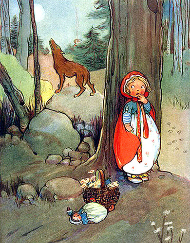 Red Riding Hood-Mabel Lucie Atwell—Hiding Behind Tree (via finsbry)Hiding behind a tree