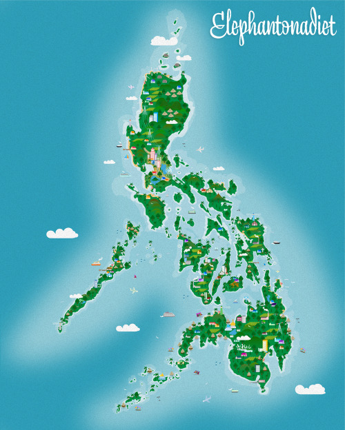 pinoytumblr:  Here, the complete vectored map of the Philippines. It kept me busy for the last few weeks whenever work isn't overflowing. I had to adjust the sizes of the trees for consistency and re-arrange some elements  specially on the Visayas and Mindanao. Clean and larger versions on my Behance! (via elephantonadiet)